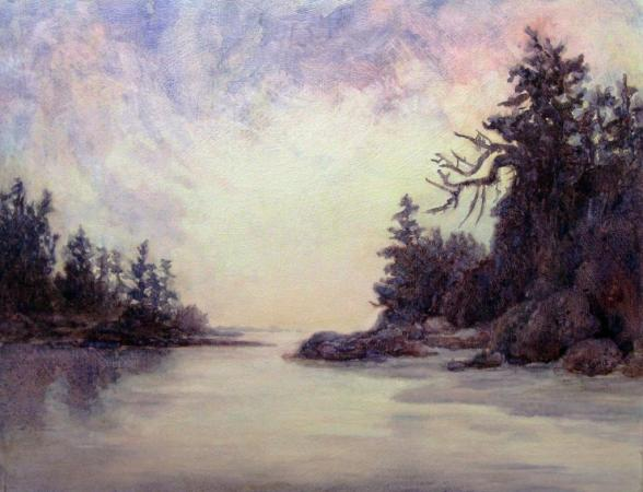 """Over The Edge"", Tofino, BC, watercolor on canvas, SOLD"